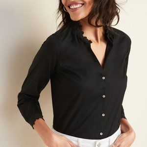 Old Navy Lace Trim Split-Neck Shirt Top Black XL